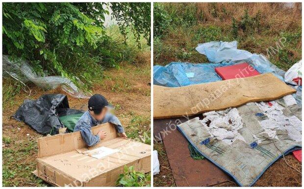 Спал в кустах на старых матрасах: в Мелитополе нашли 8-летнего мальчика, который жил под открытым небом (ФОТО)