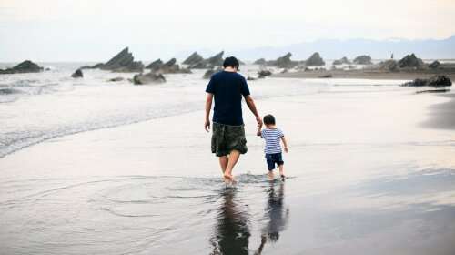 People_Father_and_son_are_walking_on_the_water_060338_