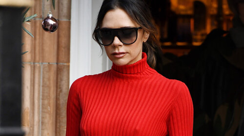 EXCLUSIVE: Lady In Red — Victoria Beckham Seen Arriving At For A Breakfast Meeting In London