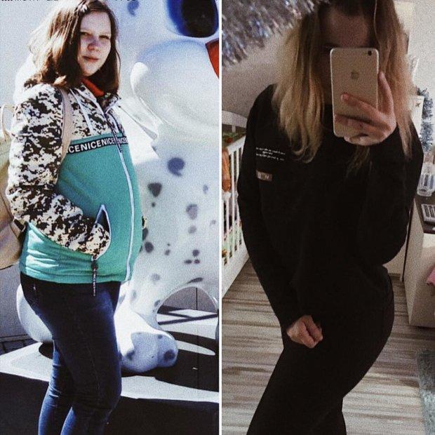 Полина до и после беременности