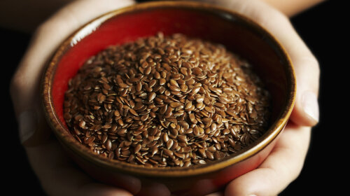 hands holding bowl of flax seed