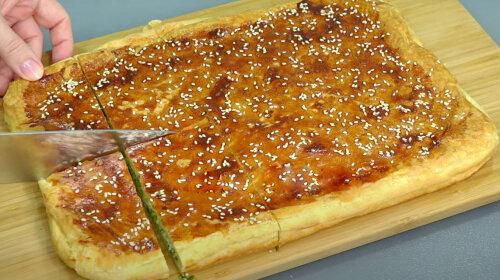 Швидкий пиріг з покупного листкового тіста з зеленою цибулею: готується за 15 хвилин