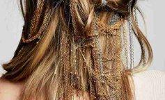 золотые украшения в волосах