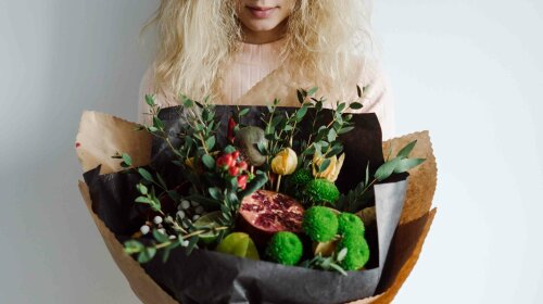 portrait of a girl with a bouquet