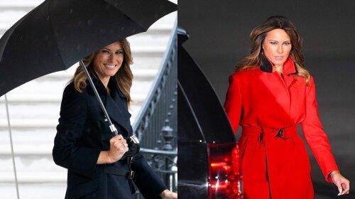 Битва образов: Мелания Трамп в черном и красном пальто – какое из них тебе нравится больше