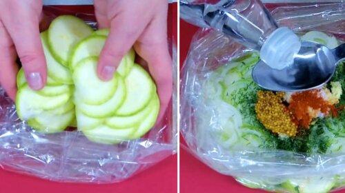 Хрусткі мариновані кабачки з пакету: через 20 хвилин пікантну закуску можна подавати на стіл