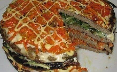 Печеночный торт с морковью и луком - это вкусно, красиво и недорого