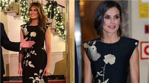 Битва образов: Королева Летиция и  Мелания Трамп в одинаковых платьях с золотыми пионами