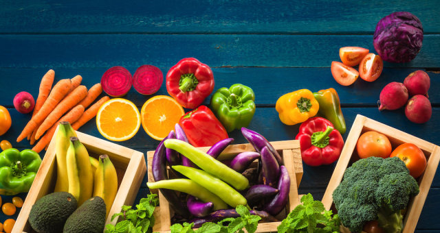 Flat lay of fresh  fruits and vegetables for background, Different fruits and vegetables for eating
