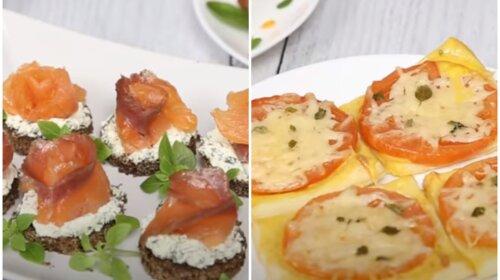 Быстрые новогодние закуски: мини-бутерброды и мини-пиццы из хрустящего слоеного теста