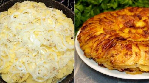 Оригінальне і дуже красиве блюдо з картоплі, цибулі та молока