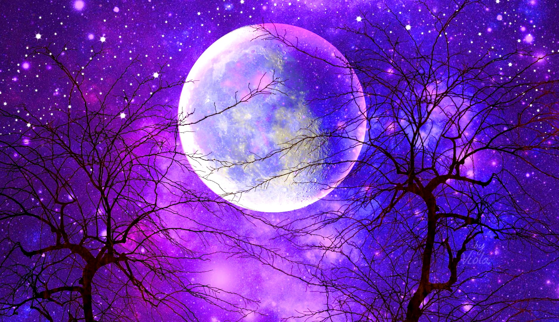 Тему, картинки луна и звезды красивые